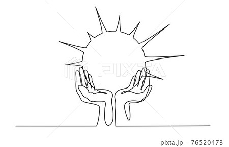 Human Hands palms together holding Sun. Continuous one line 76520473