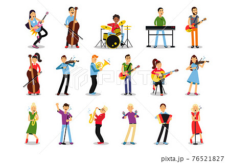 Man and Woman Musicians Playing Musical Instruments Vector Illustration Set 76521827