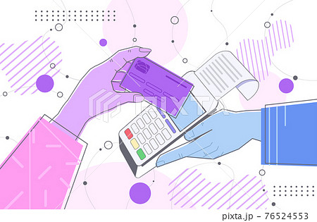 hand holding credit card near payment terminal complete transaction approved payment concept 76524553