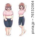 レトロな少女漫画タッチ・体型に悩む人と体型に自信がある人 76532064
