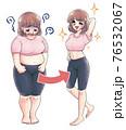 レトロな少女漫画タッチ・ダイエットビフォーアフター 76532067
