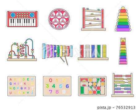 子どもの知育玩具のイラストセット 76532913