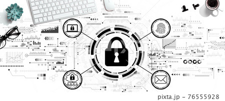 Internet network security concept with a computer keyboard 76555928