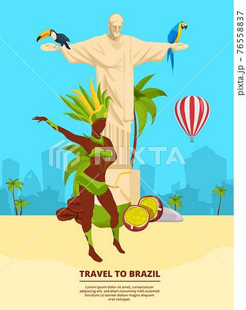 Urban landscape with brazilian landmarks and symbols 76558837