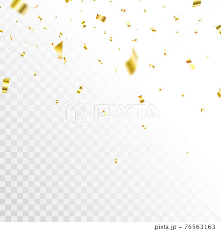 Golden confetti background. Celebrate event card. Glitter falling paper. Anniversary party. Carnival serpentine and tinsel poster. Birthday surprise decoration. Festive banner. Vector illustration 76563163