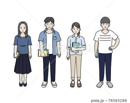 大学生 女子大生 若い男女 夏季 全身 イラスト素材 76563289