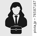 Businesswoman Icon with briefcase on hand. Flat style vector EPS. 76587187