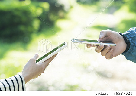 スマートフォンを操作する男女 76587929
