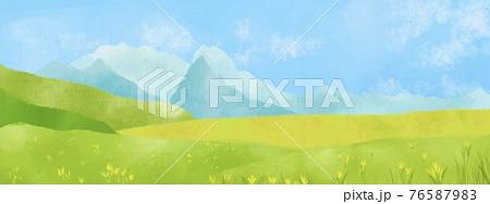 水彩風 山の景色、ハイキング 76587983