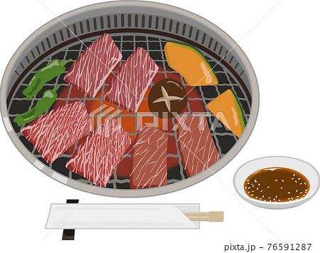 焼肉 コンロ お肉と野菜 箸タレ付き 76591287