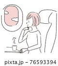 手描き1color  飛行機の中 女性 窓から外を眺める 76593394