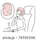 手描き1color  飛行機の中 マスクの女性 窓から外を眺める 76593398