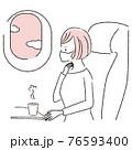 手描き1color  飛行機の中 マスクの女性 のどが痛い 76593400