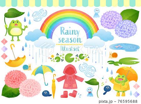 かわいい梅雨の水彩風ベクターイラストセット 76595688