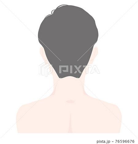 【髪の毛あり】男性の背後・背面・後頭部側のイラスト - 主線なし 76596676