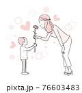 手描き1color 母親にカーネーションを渡す男の子 76603483