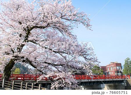 飛騨高山 赤い欄干の中橋 春 76605751