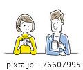 ベクターイラスト素材:飲み物を飲んでリラックスするカップル、夫婦 76607995