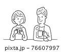 ベクターイラスト素材:飲み物を飲んでリラックスするカップル、夫婦 76607997