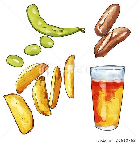 水彩のビールと枝豆とフライドポテトとソーセージのおつまみセットイラスト 76610765