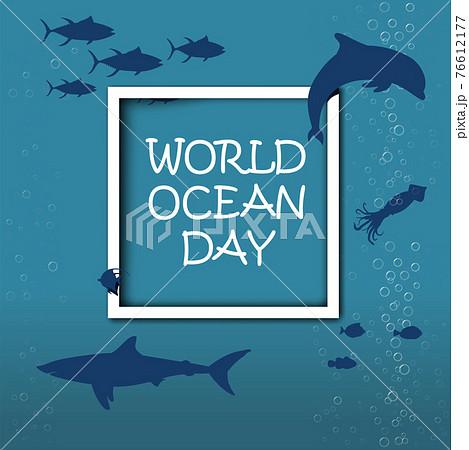 World Oceans Day June 8 Vector ill 76612177