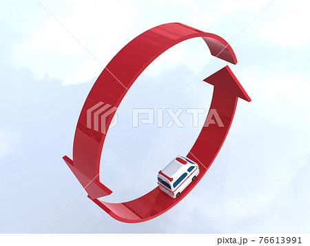 矢印の上を走るかわいい救急車 ループ CGイラスト横 76613991