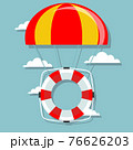 Life buoy with parachute in the sky. 76626203