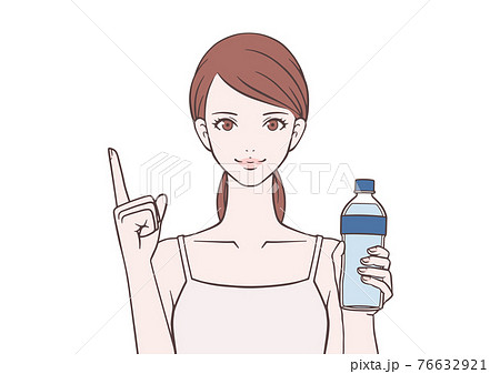 水を持ち指を差す女性 76632921