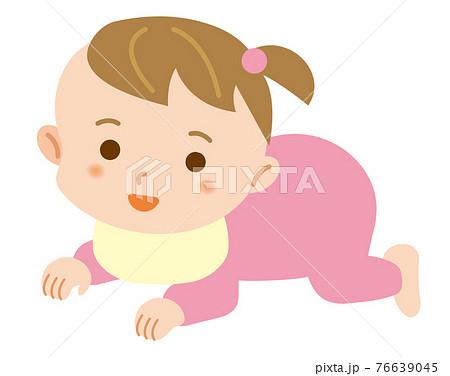 ハイハイをする女の子の赤ちゃんのシンプルなイラスト/白背景 76639045