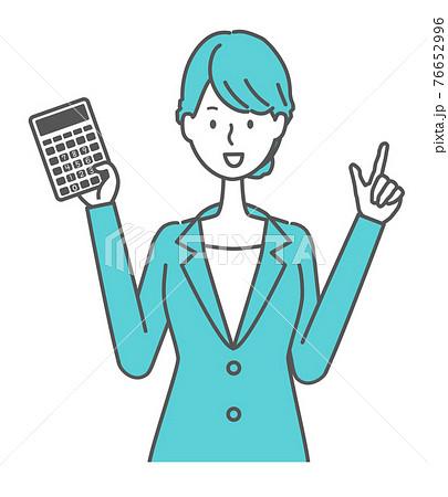 電卓を持つ青いスーツの女性イラスト 76652996
