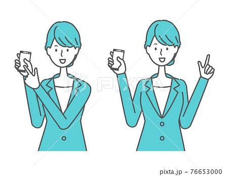 スマホを持つスーツを着た女性 76653000