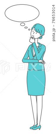 考えるスーツを着た女性 76653014