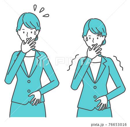 焦る、怖がる スーツを着た女性 76653016
