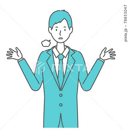 お手上げ状態のスーツを着た男性 76653047