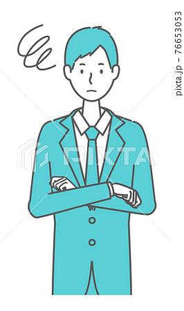 困っている スーツを着た男性 76653053