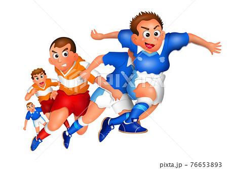 サッカー,選手,イラスト, キャラクター,  76653893