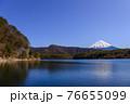 (山梨県)青空と厳冬富士山・西湖 76655099