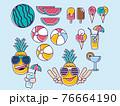 夏の風物詩のアイコンセット 76664190
