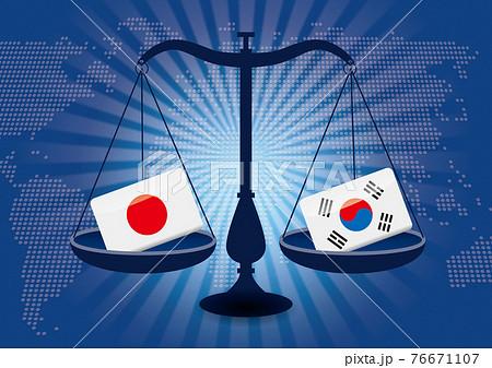 天秤と国旗日本と韓国の国旗 国家対立国家紛争国際司法貿易のイメージイラスト世界地図集中線 76671107