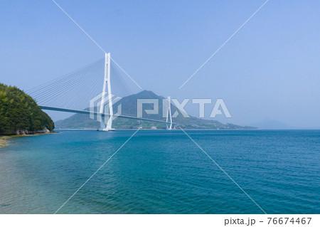 広島県尾道市大三島のサイクリストの聖地多々羅しまなみ公園から見た多々羅大橋 76674467