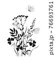 Monochrome Composition with  Butterflies and Wildflowers 76693761