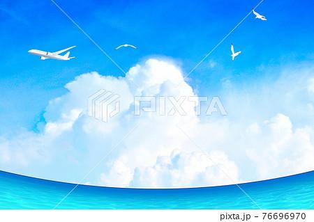マリンブルーの海が広がるリゾート地 夏イメージ背景素材  76696970