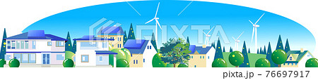 エコタウンの風車とソーラーパネル 76697917