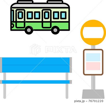 バスのアイコンとバス停標識とベンチ 76701220