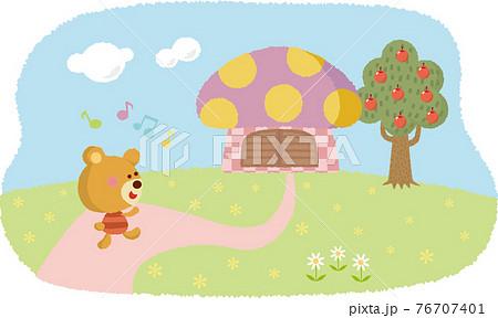 かわいいクマさんとリンゴの木 76707401