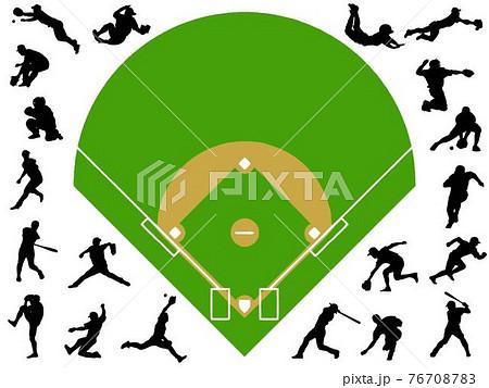 野球シルエットと甲子園球場 76708783