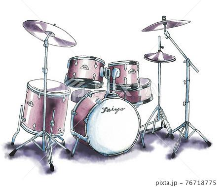 水彩で描いたドラムセット 76718775