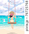 Young Woman on a Swing at the Sea Coast 76725768