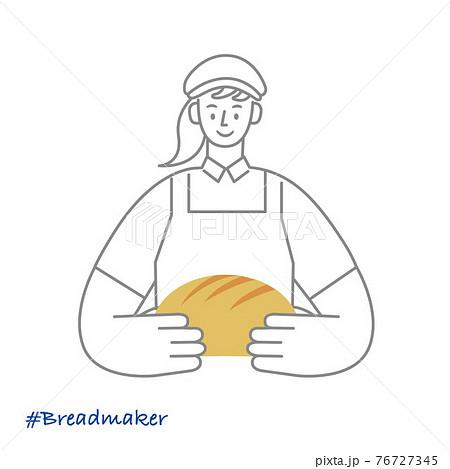 職業イラスト/Breadmaker/パンを持つ女性パン職人 76727345