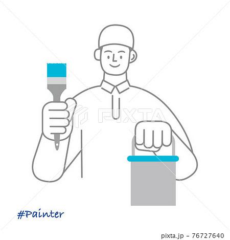 職業イラスト/Painter/塗装職人/ペンキ塗装する男性 76727640